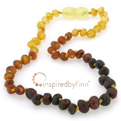 <u>Baltic Amber Necklace - Kids Unpolished Tri-color - Teething, Health & Wellness</u>