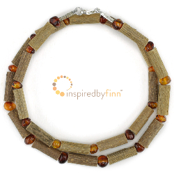 <u>Polished Baltic Amber & (Smaller) Hazel Necklace - Honey</u>
