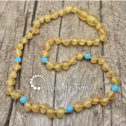 <u>Baltic Amber Necklace - Kids Unpolished Blue Azure Teething, Health & Wellness</u>