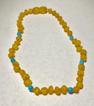 <u>Baltic Amber Necklace - Kids Unpolished Blue Harvest - Health & Wellness Jewelry</u>