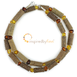 <u>Polished Baltic Amber & (Smaller) Hazel Necklace - Light & Darker</u>