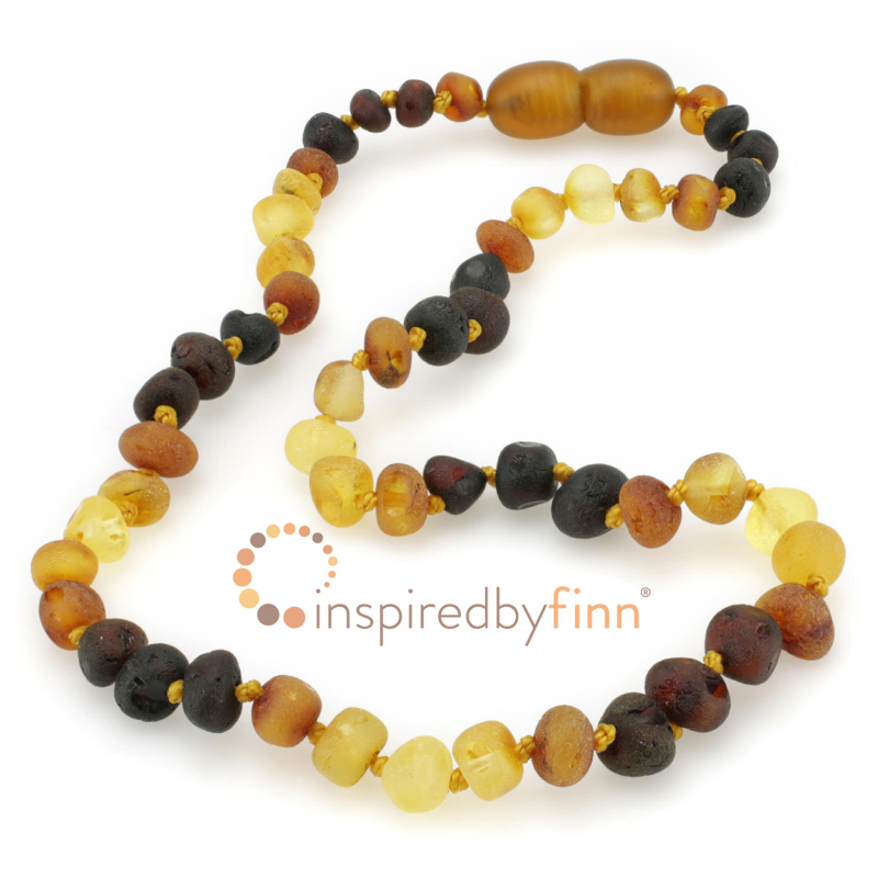<u>Baltic Amber Necklace - Kids Unpolished Multi - Teething, Health & Wellness</u>