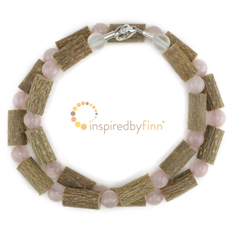 <u>Kids Rose Quartz Gemstone & Hazel Necklace<br>Pure Love - Nurturing and Calming</u>