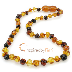 <u>Baltic Amber Necklace - Kids Polished 3 Different - Teething, Health & Wellness</u>