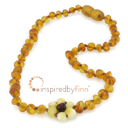 <u>Baltic Amber Necklace - Kids Unpolished Autumn Flower - Teething, Health & Wellness</u>