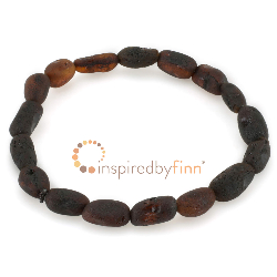<u>Baltic Amber Elastic Bracelet - Unpolished Dark Bean</u>