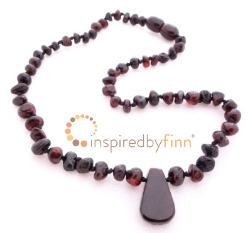 "<u>Sale! Kids 11.5-12.5"" Polished Pendant Dark Cherry Amber Necklace</u>"