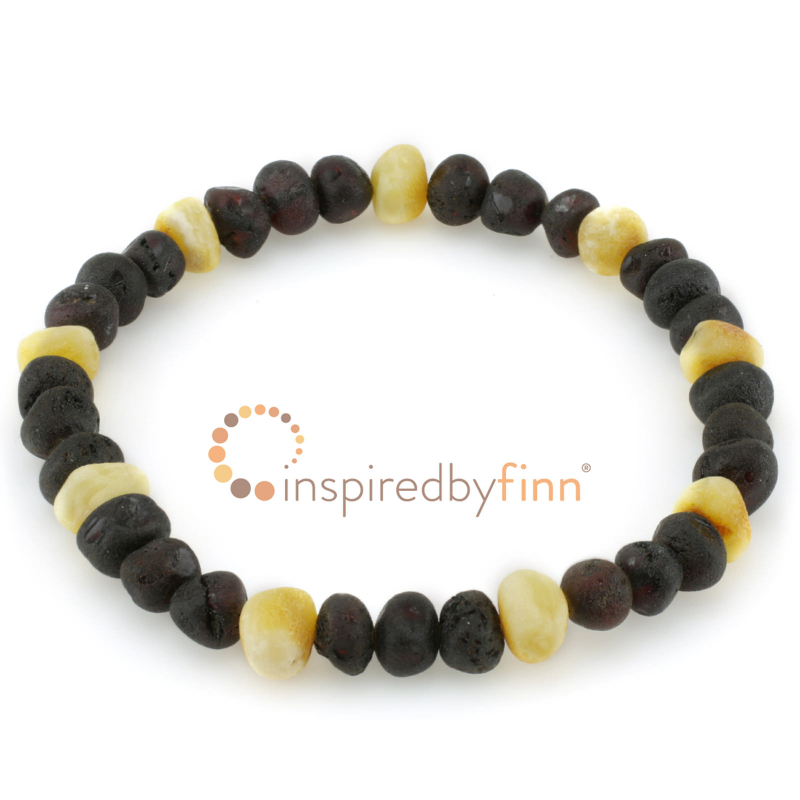 <u>Baltic Amber Elastic Bracelet - Unpolished Dark with Light</u>