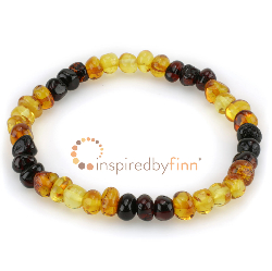 <u>Baltic Amber Elastic Bracelet - Polished Rainbow</u>