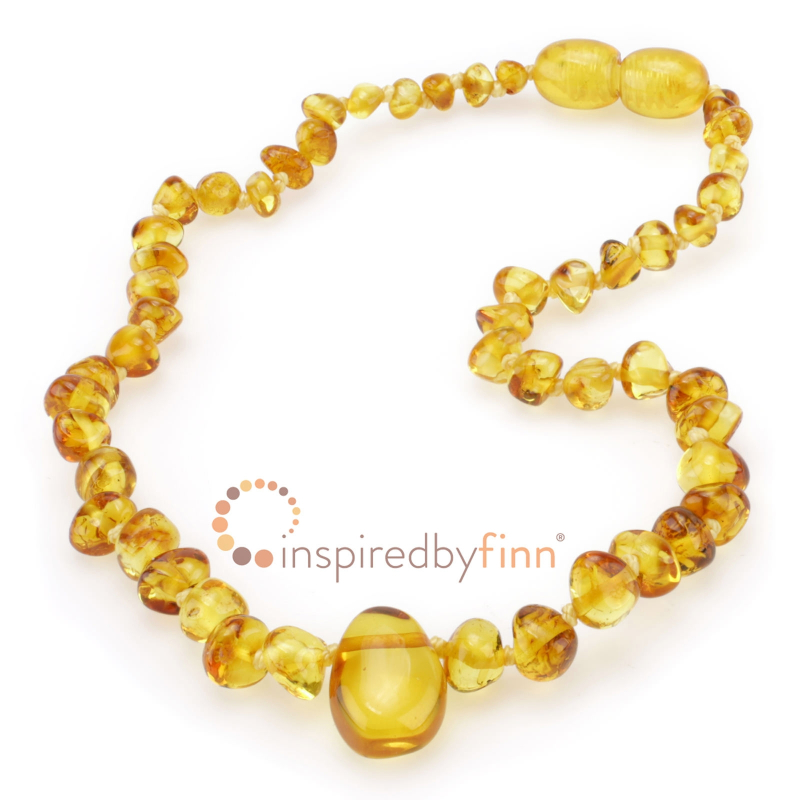 <u>Baltic Amber Necklace - Kids Polished Pendant Golden Swirl - Health & Wellness Jewelry</u>