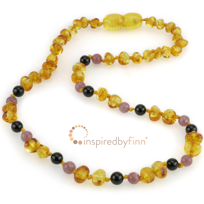 <u>Baltic Amber Necklace - Kids Polished Golden Swirl + CURBS HYPERACTIVITY</u>