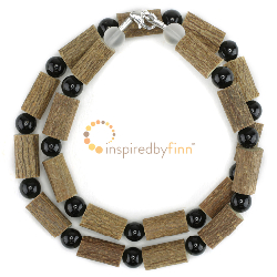 <u>Black Tourmaline Gemstone & Hazel Necklace - Buffer from Negativity & Compulsive Behavior</u>