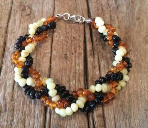 <u>Adult Baltic Amber Clasped Bracelet - Polished Braid</u>