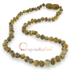 <u>Baltic Amber Necklace - Kids Unpolished Green, Yellow, Black - Teething, Health & Wellness