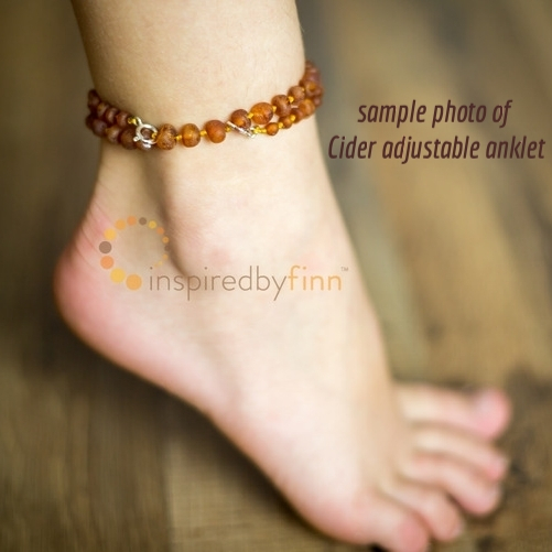 <u>Baltic Amber Anklet - Adjustable<br></u>Unpolished Dark with Light