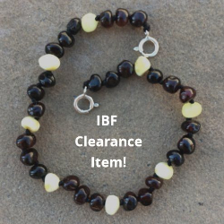 <u>CLEARANCE! - Baltic Amber Anklet - Adjustable<br></u>Polished Dark Cherry/White