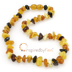 <u>Baltic Amber Necklace - Kids Polished Colorful Chips - Teething, Health & Wellness</u>