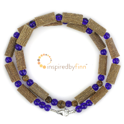 "<u>SALE! Discontinued - Kids & Adult Sizes 10.5 - 22"" Hazel Necklace Ocean & Wood</u>"