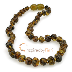 <u>Baltic Amber Necklace - Kids Polished Green, Yellow, Black - Teething, Health & Wellness<