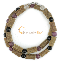 <u>Lepidolite & Black Tourmaline Gemstones & Hazel Necklace - Relaxation, Curbs Hyperactivity</u>