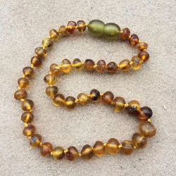 "<u>SALE! Kids 10.5-12.5""<br>Semi-polished with Green Clasp Baltic Amber Necklace</u>"