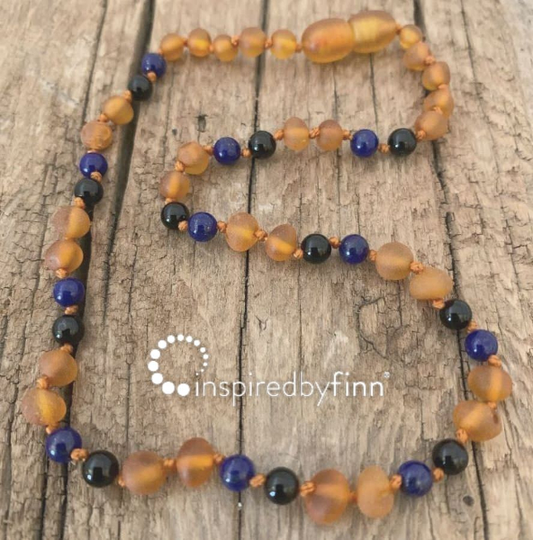 <u>NEW! Unpolished Cider Baltic Amber + FOCUS & CONCENTRATION<br>Adult Necklace</u>