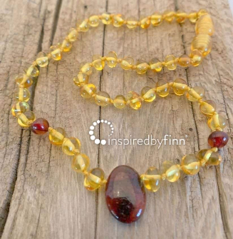 <u>NEW Baltic Amber Necklace - Kids Polished Pendant Golden Cherry - Teething, Health & Wellness</u>