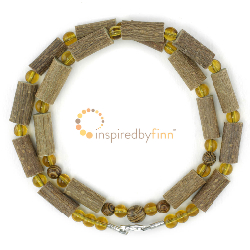 "<u>SALE! Discontinued - Kids & Adult Sizes 10.5 - 20"" Hazel Necklace Lemon & Wood</u>"