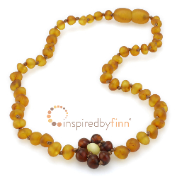 <u>Baltic Amber Necklace - Kids Unpolished Brilliant Flower - Teething, Health & Wellness</u>