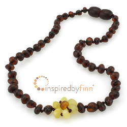 <u>Baltic Amber Necklace - Kids Unpolished Delicate Flower - Teething, Health & Wellness</u>