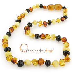 <u>Baltic Amber Necklace - Kids Polished 4 Different - Teething, Health & Wellness</u>