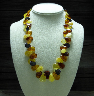 <u>Baltic Amber Necklace - Polished Multicolor Shining Leaves</u><br>$40.47 w/ discount code: 25