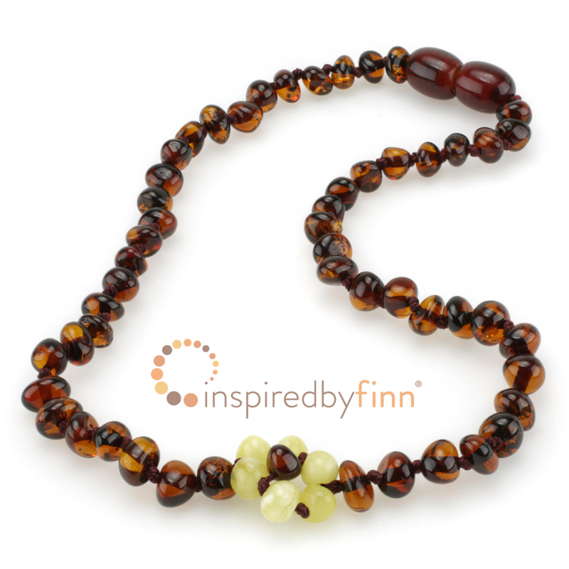 <u>Baltic Amber Necklace - Kids Polished White Flower - Teething, Health & Wellness</u>
