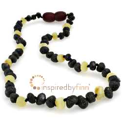 <u>Baltic Amber Necklace - Kids Unpolished Dark with Light - Teething, Health & Wellness</u>