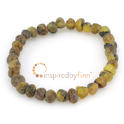 <u>Baltic Amber Elastic Bracelet - Unpolished Green/Yellow<br></u>