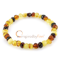 <u>SALE! Baltic Amber Elastic Bracelet - Polished 4 Different Colors</u>