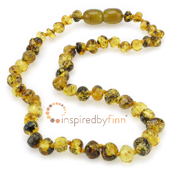 <u>Baltic Amber Necklace - Kids Polished Speckled Black - Teething, Health & Wellness</u>