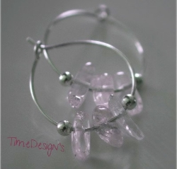 AUTHENTIC KUNZITE Boho Chik Sterling Silver Hoop Earrings