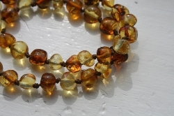 Baltic Amber Rounded Baby Teething Necklace MAPLE SYRUP