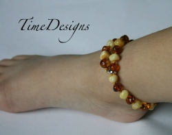 Sterling Silver and Baltic Amber Adjustable Teething Anklet...Choice of AU LAIT or AMERETTO