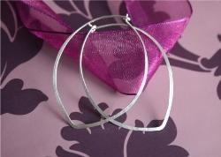 LOTUS LEAF HOOPS...Sterling Silver Hammered Hoop Earrings