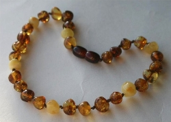 Baltic Amber Rounded Baby Teething Necklace HONEY AND CREAM