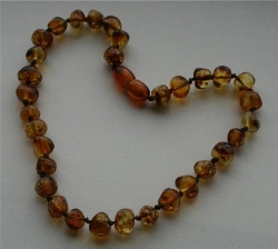 Baltic Amber Rounded Baby Teething Necklace COGNAC
