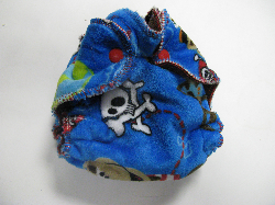 Pirate Monkey Minky /w chocolate cotton velour - newborn