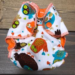 Retro Owls /w orange cotton velour - newborn