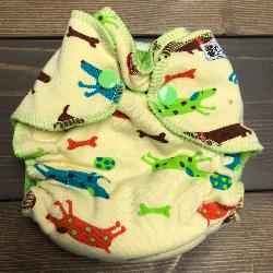 Yellow Weiner Dogs /w lime cotton velour - newborn