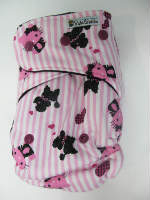 Pink Hello Kitty Stripe /w black cotton velour - T&T multi-size