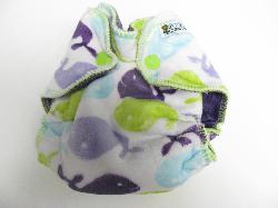 Lilac Whales Minky /w purple organic bamboo velour - newborn