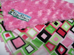 Fushcia /w Lime Block Party Minky - 'Lankie - Regular $20