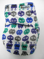 Imported Space Invaders /w blue organic bamboo velour - T&T multi-size